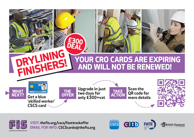 FIS launches CSCS card upgrade offers for the drylining trade